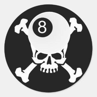 cráneo de 8 bolas pegatina redonda