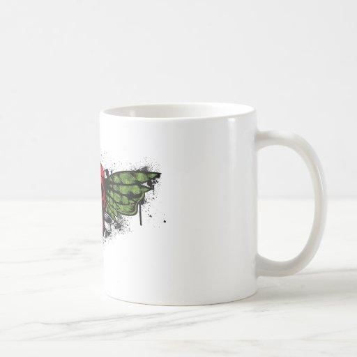 Cráneo de alas rojas taza de café