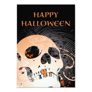 """cráneo de alta fidelidad 2 del feliz Halloween Invitación 3.5"""" X 5"""""""