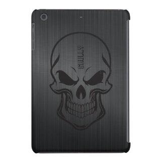 Cráneo de aluminio cepillado negro del azúcar carcasa para iPad mini