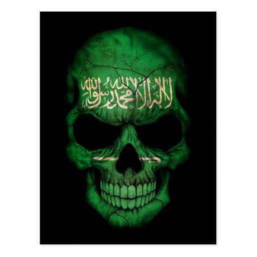 Cráneo de Arabia Saudita de la bandera en negro Postales
