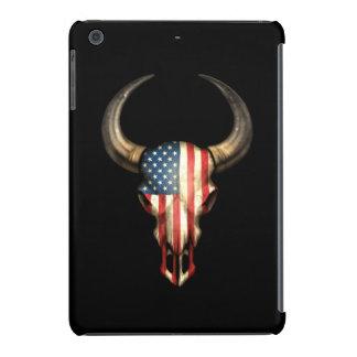 Cráneo de Bull de la bandera americana en negro Funda De iPad Mini