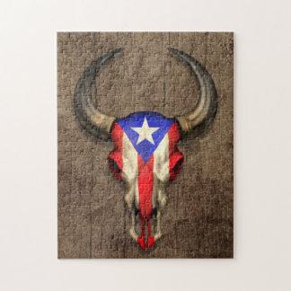 Cráneo de Bull de la bandera de Puerto Rico en el Puzzle Con Fotos