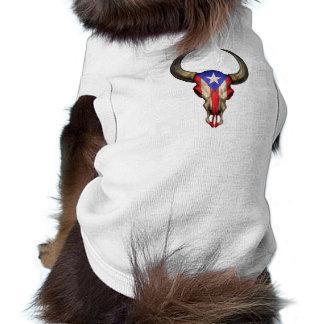 Cráneo de Bull de la bandera de Puerto Rico Playera Sin Mangas Para Perro