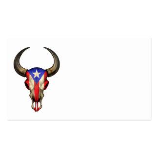 Cráneo de Bull de la bandera de Puerto Rico Tarjetas De Visita