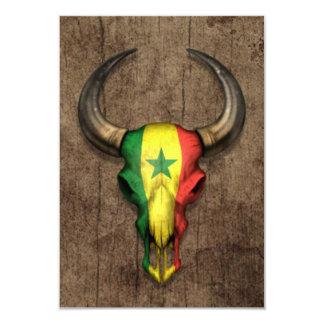 """Cráneo de Bull de la bandera de Senegal en el Invitación 3.5"""" X 5"""""""