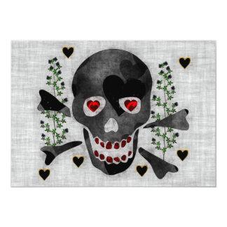 Cráneo de corazones invitación 12,7 x 17,8 cm