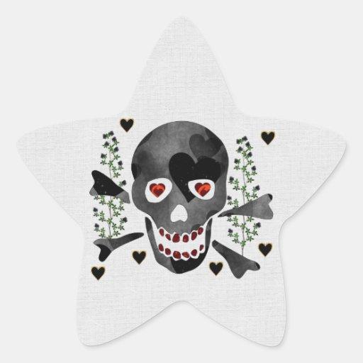 Cráneo de corazones calcomanía forma de estrella personalizadas