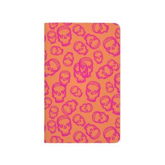 Cráneo de corazones - rosa y naranja cuaderno