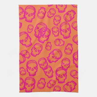Cráneo de corazones - rosa y naranja toallas