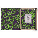Cráneo de corazones - verde y púrpura iPad protector