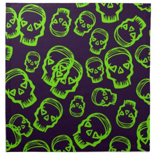 Cráneo de corazones - verde y púrpura servilletas de papel
