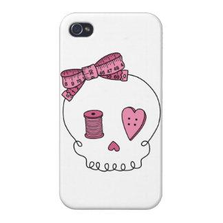Cráneo de costura (rosa) iPhone 4 fundas