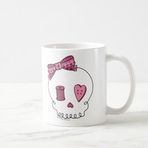 Cráneo de costura (rosa) tazas de café