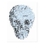 Cráneo de cristal azul roto postal