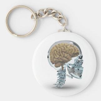 Cráneo de cristal con el cerebro llavero redondo tipo pin