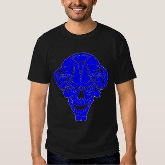 cráneo de cuernos azul poleras