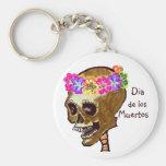 Cráneo de Dia de los Muertos Llavero Redondo Tipo Pin
