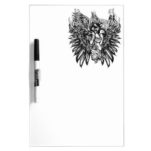 Cráneo de Dia de los Muertos Sugar con las alas Ar Tableros Blancos
