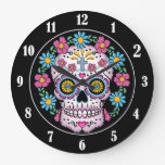 Cráneo de Dia de los Muertos Sugar Reloj Redondo Grande