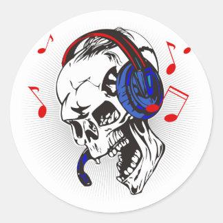 Cráneo de DJ Pegatina Redonda