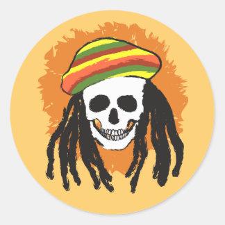 Cráneo de Dreadlock Etiquetas Redondas