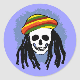 Cráneo de Dreadlock Etiqueta Redonda