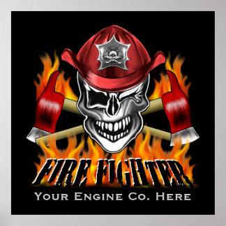 Cráneo de encargo del bombero con flamear las impresiones