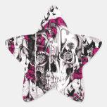 Cráneo de fusión del grunge rosado y gris pegatina en forma de estrella