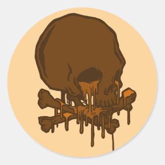 cráneo de fusión delicioso del chocolate… por pegatina redonda