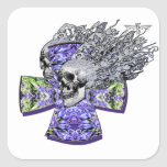 cráneo de griterío 88 calcomanía cuadradas