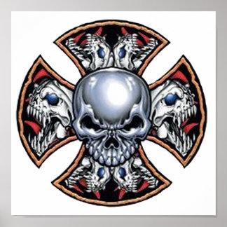 Cráneo de griterío del hierro impresiones