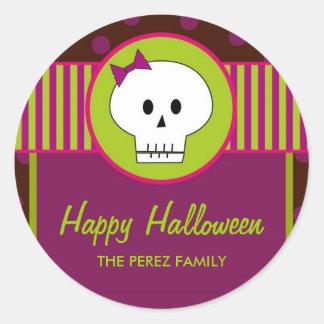 Cráneo de Halloween, pegatinas redondos del Pegatina Redonda
