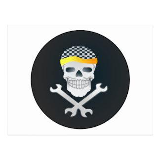 Cráneo de hombres y bandera pirata postales
