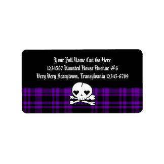 Cráneo de Kawaii y tela escocesa púrpura Etiqueta De Dirección