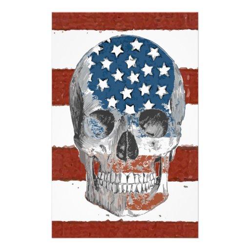Cráneo de la bandera americana del vintage papeleria personalizada