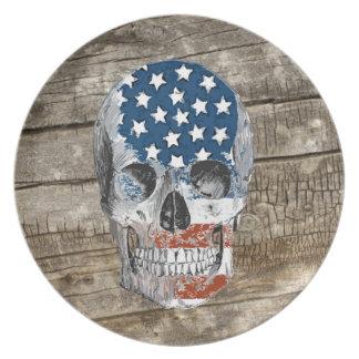 cráneo de la bandera americana del vintage platos para fiestas