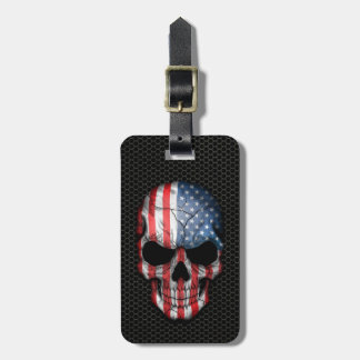 Cráneo de la bandera americana en el gráfico de ac etiquetas para maletas