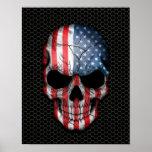 Cráneo de la bandera americana en el gráfico de ac impresiones
