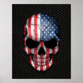 Cráneo de la bandera americana en el gráfico de ac póster