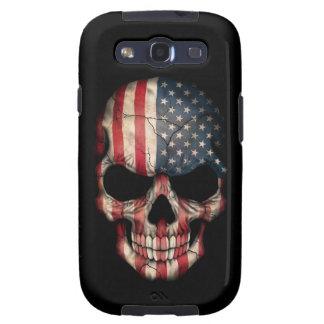 Cráneo de la bandera americana en negro galaxy s3 cobertura