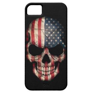 Cráneo de la bandera americana en negro iPhone 5 Case-Mate coberturas