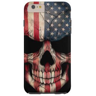 Cráneo de la bandera americana en negro funda para iPhone 6 plus tough