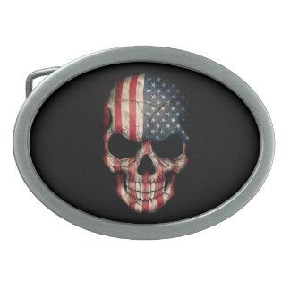 Cráneo de la bandera americana en negro hebillas de cinturón ovales
