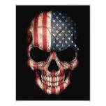 Cráneo de la bandera americana en negro invitaciones personales