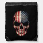 Cráneo de la bandera americana en negro mochilas