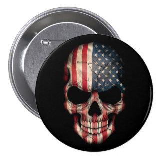 Cráneo de la bandera americana en negro pin redondo de 3 pulgadas