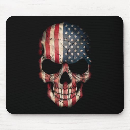 Cráneo de la bandera americana en negro tapete de ratones