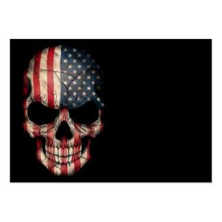 Cráneo de la bandera americana en negro tarjetas de visita grandes