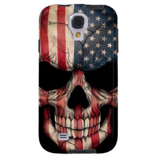 Cráneo de la bandera americana funda para galaxy s4